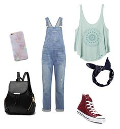 """Summer outfit"" by gabisitton on Polyvore featuring Current/Elliott, RVCA, Converse and Boohoo"