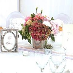 Centre de table rose Hortensia - mariage Mélanie Miguel Décoratrice Florale www.ateliermiguel.com