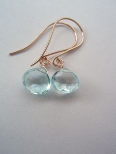 GEMSTONE blue topaz heart drop dangle earring 1 pair by idooidoo, $22.00