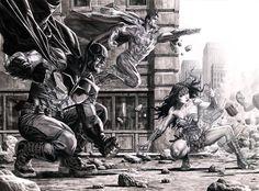 """Trinity"" by Lee Bermejo DC Comics - Superman - Batman - Wonder Woman Comic Book Artists, Comic Book Characters, Comic Book Heroes, Comic Artist, Comic Books Art, Dc Heroes, Superhero Characters, Superman Wonder Woman, Batman And Superman"