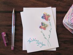 OOK handmade card with crochet flowers. Thinking of you card.