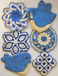 Vintage Blues Potholder Crochet Pattern Crochet Pattern Vintage Blue Potholder [PB056] - $7.99 : Maggie Weldon, Free Crochet Patterns