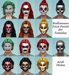 Mod The Sims - Halloween Face Paint for Males and Females Teen through Adult
