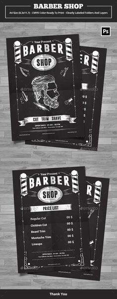 Flyer template design for Barber shop promotion Features :2 PSD file(min version cs2)A4 Size (8.27¡¯x11.69¡¯) with 0.25¡¯bleedClearly labeled folders and layersCMYK ¨C 300dpi ¨C Ready to print with guidesTXT Help File Font : DreamwalkerRoboto Thank You
