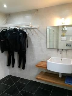 Wetroom with wetsuit drying rack