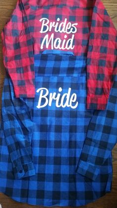 BRIDESMAIDS gift personalized bride flannel shirt for girls weekend bachelorette party bridal squad goals