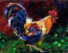 Rooster painting, chicken art original oil by Debra Hurd, painting by artist Debra Hurd