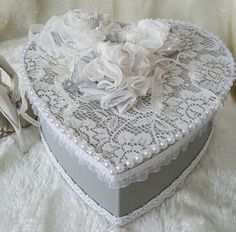 Check out this item in my Etsy shop https://www.etsy.com/uk/listing/237933222/grey-and-white-lace-jewelry-box-shabby