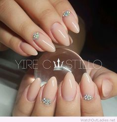 Simple nude gel nails with diamonds