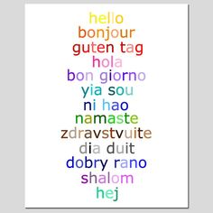 Hello - 8x10 Typography Print with Hello in Different Languages - Choose Your Colors - Shown in Rainbow, Aqua, and More