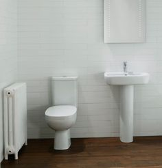 This stylish toilet and basin set by Frontline includes a Close Coupled Toilet, and Full Pedestal Basin. Toilet And Sink Set, Cloakroom Suites, Contemporary Toilets, Modern Toilet, Basin, Bathroom, Bespoke, Home, Range
