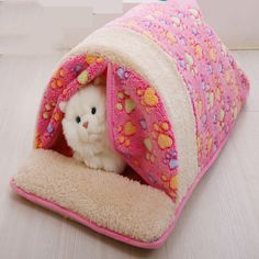 2016 Pet SuppliesSoft Warm Foldable Cat Dog Bed House Teddy fall and winter cartoon Cute Kennel Nest Dog Fleece Cat Tent Bed J11