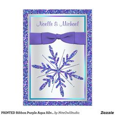 "PRINTED Ribbon Purple Aqua Silver Wedding Invite 5"" X 7"" Invitation Card"