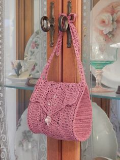 Mauve bag with bow strap by Dawn Holbrook