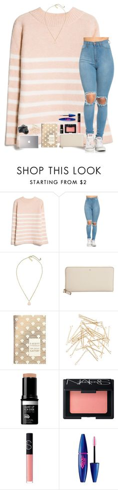 """""""Just got nails done!💅😊"""" by mmprep ❤ liked on Polyvore featuring MANGO, Kendra Scott, Kate Spade, Penguin Group, Monki, Samsung, ALPHA, NARS Cosmetics and Maybelline"""