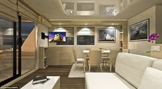 Each boat can be customised to the client's own taste with a host of optional extras including an electric sun visor, a 'smart' system that monitors every aspect of the boat from one screen