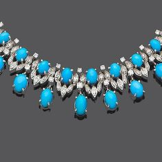 A turquoise and diamond necklace, earring and ring suite (3) (partially illustrated)