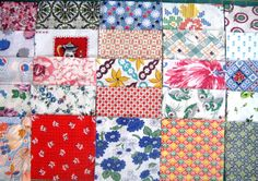 Vintage Feedsack Fabric 50 5inch Squares by QuiltyMcQuilterson, $25.00