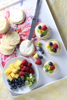 """<p>Mini Sugar Cookie Fruit Pizzas are a gorgeous fruit tart in a handheld size. <a href=""""http://chocolatewithgrace.com/mini-sugar-cookie-fruit-pizzas/"""" target=""""_blank"""">Get the recipe HERE!</a></p>"""