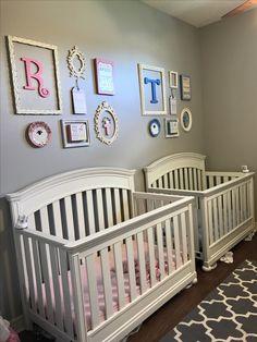 Twin nursery for boy/girl twins. Vintage nursery rhymes