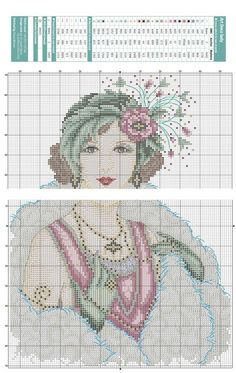 0 point de croix art deco lady - cross stitch