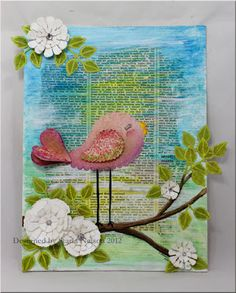 Mixed media canvas - with bird and white flowers; green leaves