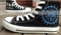 anime shoes Black Butler Shoes hand painted sneakers,High-top Painted Canvas Shoes <- if I could wear these to school I would totally buy them! But the contract symbol would cause… judgement. And perhaps a stern talk with teachers or the principal. Painted Canvas Shoes, Painted Sneakers, Hand Painted Shoes, Painted Converse, Black Butler Anime, Converse Sneakers, High Top Sneakers, Cute Shoes, Me Too Shoes