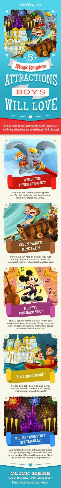 5 Magic Kingdom Attractions Boys will Love at Walt Disney World! #Vacation #Disney #travel www.thepixieplanner.com