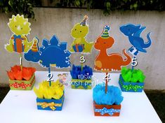 Dinosaur centerpiece PRICE PER PIECE If you would like to purchase the entire set, you can purchase here... https://www.etsy.com/listing/494075010/dinosaur-birthday-party-dinosaur?ref=shop_home_active_1 ALSO AVAILABLE NOW, IS A LOLLIPOP/COTTON CANDY STAND. YOU CAN VIEW THE OLAF