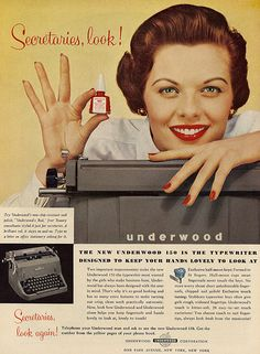 Secretaries, look!  A typewriter designed to keep your hands lovely. 1950's
