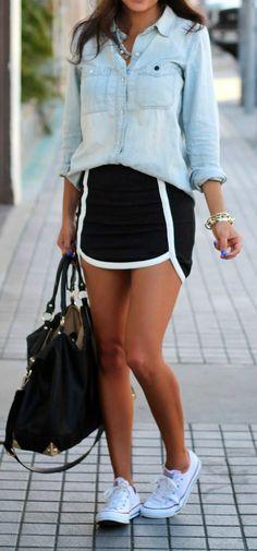 Chambray Shirt + Black Mini Skirt