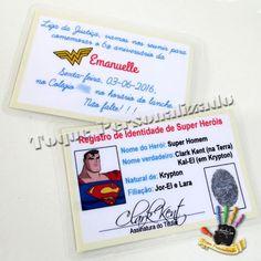 Toque Personalizado - Convite Registro Super Heróis - Mulher Maravilha