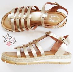 Artemis Gold Stripes Leather Sandals