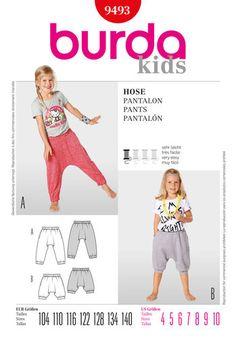 Burda 9493 Burda Style Pants for kids (bottom to jumpsuit for demi)