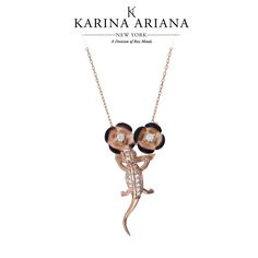 Gecko with Buttercup Flowers Shown with Burnt Detailing and CZ Accents KAP-B504 $180 #KarinaAriana #sterlingsilver #Ember #Passion #fashion #gecko #jewelry #pendant #necklace
