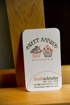 Sweet Annies Cute Business Card love the vertical card design. Baking Business Cards, Cute Business Cards, Letterpress Business Cards, Business Branding, Business Card Design, Visiting Card Design, Bakery Logo Design, Bussiness Card, Name Cards