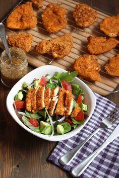 Almond Baked Chicken With Horseradish Honey Mustard Vinaigrette Chicken Salad Recipe With Almonds, Chicken Salad Recipes, Healthy Eating Recipes, Real Food Recipes, Healthy Dinners, Healthy Eats, Paleo Recipes, Baked Chicken Cutlets, Honey Mustard Vinaigrette