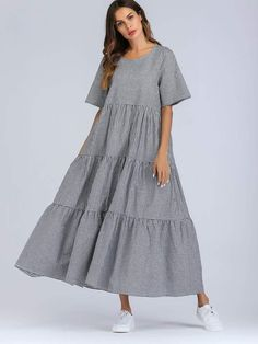 Modest and Cute A Line Gingham Shift Flounce Round Neck Half Sleeve Regular Sleeve Black and White Maxi Length Tiered Gingham Maxi Dress Dress Outfits, Casual Dresses, Fashion Dresses, Dress Clothes, Dresses Dresses, Dance Dresses, Plaid Dress, Dress Up, Gingham Dress