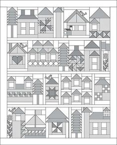 43 Best ideas for quilting squares patterns patchwork House Quilt Patterns, House Quilt Block, Paper Piecing Patterns, Quilt Block Patterns, Pattern Blocks, Quilt Blocks, Paper Pieced Quilts, Patch Quilt, Sampler Quilts