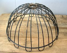 Rusty Wire Planter Basket or Fruit Bowl Part for  Repurpose as Lamp or Light Fixture Shade - $25