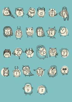 Owlphabet Alphabet Poster by Gingiber