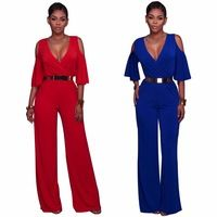 9a9510ba347 Woman Jumpsuits   Rompers · Blue Red Cold Shoulder Women Fashion Jumpsuits  Sexy Deep V Neck Half Sleeve Bodysuits One