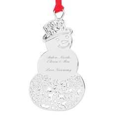 Adorn the Christmas tree with our personalized Snowman Snowflake Ornament. Silver with a red ribbon, this snowman-shaped ornament features snowflakes cut out of its hat and bottom half. Engrave names, a monogram or a special holiday message on the front of this ornament.  https://www.thingsremembered.com/snowman-snowflake-ornament/product/348569?fcref=pinterest