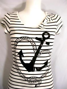 NEW~BLACK & WHITE STRIPED TOP~ ANCHOR~ROPE~RETRO~NAUTICAL~SAILOR~FITTED T-SHIRT~L