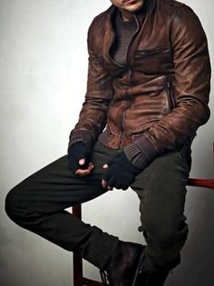Distressed Brown Leather Jacket, and Green Micro-Corduroy Pants. Men's Fall Winter Fashion.