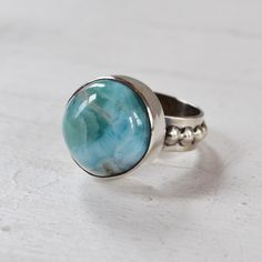 Larimar Bubble Ring, Sterling Silver Bezel Set Larimar Ring, One of a Kind Gemstone Ring, Round Blue Stone Ring by GLAMROCKSdesigns on Etsy https://www.etsy.com/listing/286210223/larimar-bubble-ring-sterling-silver