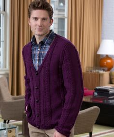 Handsome Harry Cardigan Knitting Pattern   Red Heart