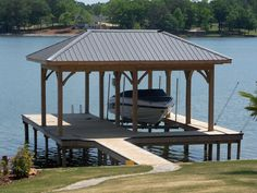 Boathouse and Dock Builder on Logan Martin Lake in Pell City. Lake Dock, Boat Dock, Building A Dock, Dock House, Boat Shed, Rio, Lakefront Property, Boat Lift, Fire Pit Patio