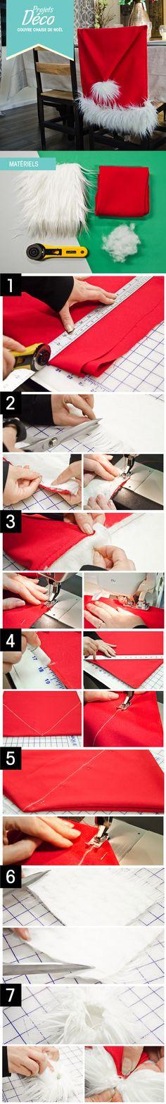 PAS À PAS: un couvre chaise de Noël! :) #DIY #bricolage #couture #deco http://clubtissus.com/articles-blog/articles-decoration/projet-couvre-chaise-noel