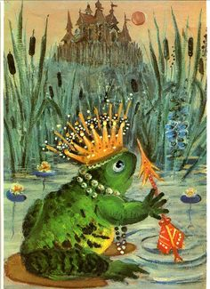 """""""The Frog Princess"""" Art by Anne Anderson - An Old Fairy Tale From Russia Art And Illustration, Princess Illustration, Frog Princess, Princess Art, Frog Art, Fairytale Art, Outdoor Art, Grimm, Bunt"""